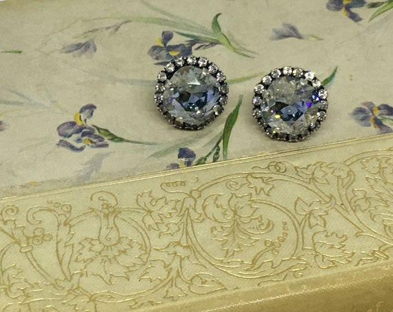 Swarovski Blue Shade Crystal Earrings Set In Antique Silver Plated Lever Back Setting With Eighteen Swarovski Rhinestones