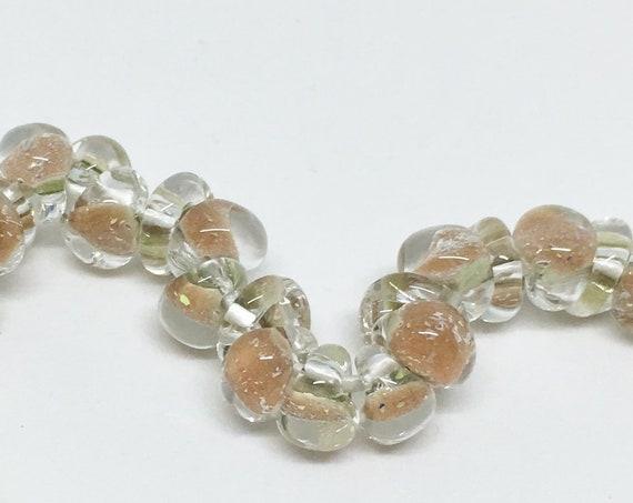 Strawberry Cream Mini Boro Teardrop Beads, Made by Unicorne Beads, 25 Beads Per Strand