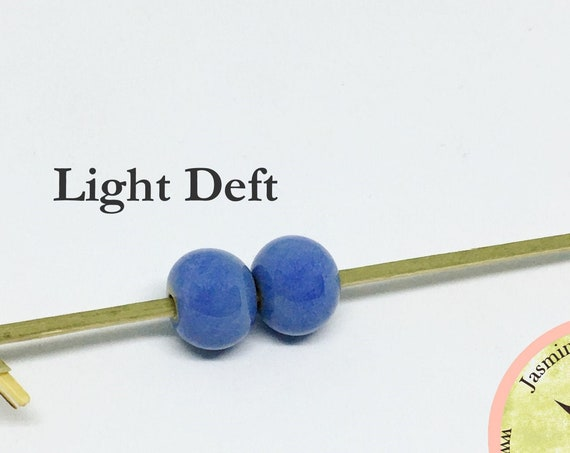 Light Delft Blue Glazed Round Beads, Large Hole Beads For Kumihimo, Spacer Beads, Golem Beads, Set Of Two Beads
