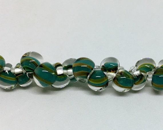 Green Exotic Aqua Mini Boro Teardrop Beads, Made by Unicorne Beads In The USA, 25 Beads Per Strand
