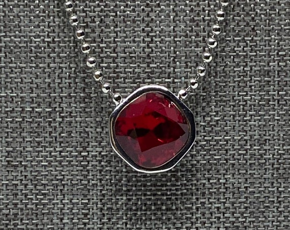 Swarovski Siam Red 12mm Square Solitaire Necklace, 21 Inch Rhodium Plated Necklace With 2 Inch Extender with Heart Dangle