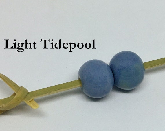 Light Tidepool Glazed Round Beads, Large Hole Beads For Kumihimo, Spacer Beads, Golem Beads, Set Of Two Beads