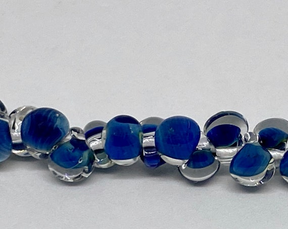 Blue Mini Boro Teardrop Beads, Made by Unicorne Beads In The USA, 25 Beads Per Strand