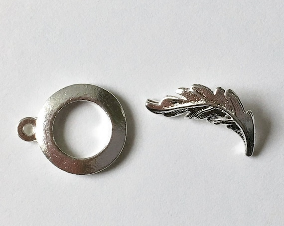 Sterling Silver Plated Brass, Leaf Toggle Bar And Ring, Nunn Design Leaf Toggle Set