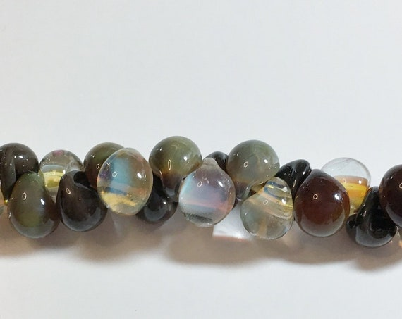 Lizette Unicorne Boro Teardrops, 25 Beads per Strand,  Mixed Color Strand of Taupe, Moonstone, Grays and Greens Teardrop Beads