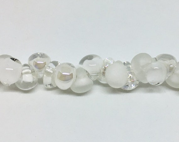 Marshmallow Mix  Unicorne Beads, Boro Teardrops, 25 Beads Per Strand