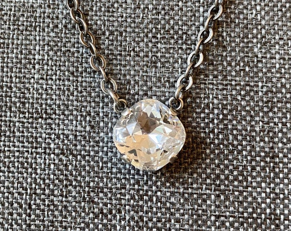 Swarovski Crystal 12mm Square Solitaire Necklace, 16 Inch Antique Silver Necklace With 2 Inch Extender, Lobster Claw Clasp and Heart