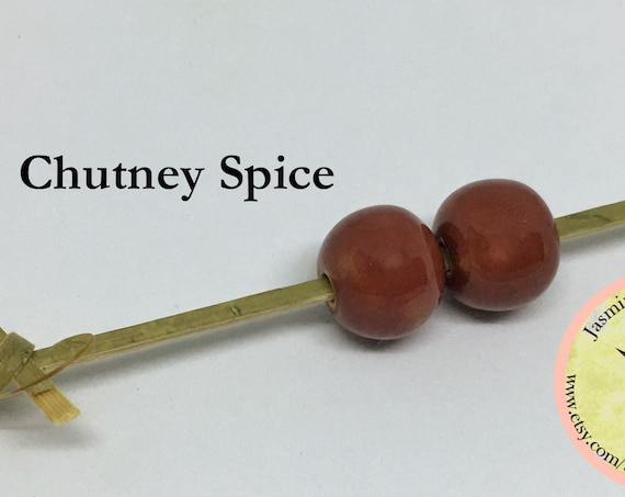 Chutney Spice Glazed Round Beads, Large Hole Beads For Kumihimo, Spacer Beads, Golem Beads, Set Of Two Beads
