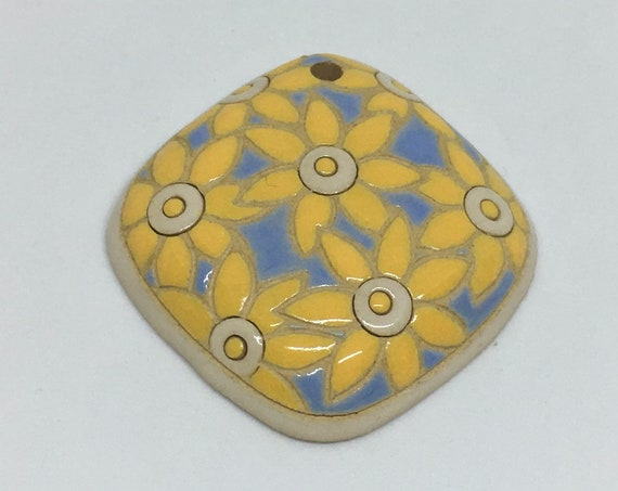 Bright Yellow Flowers On Light Blue, Diamond Shaped Ceramic Pendant Bead, Golem Design Studio Beads, 40mm Top To Bottom, Domed Focal Bead
