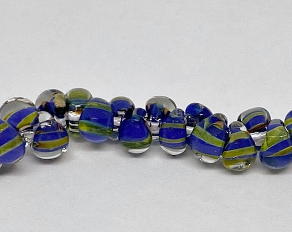 Exotic Hyacinth Mini Boro Teardrop Beads, Made by Unicorne Beads In The USA, 25 Beads Per Strand