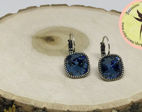 Swarovski Denim Crystal Earrings Set In Antique Silver Plated Lever Back Setting, 12mm Cushion Cut Crystals