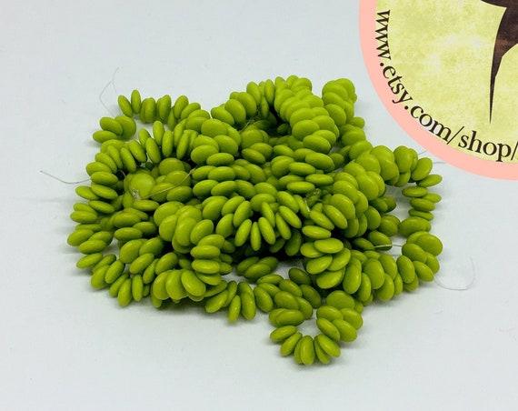 Matte Avocado Green , 6mm Lentil Beads, 50 Beads per Strand,  Czech Glass Lentil Beads, Single Hole, Top Drilled Lentil Beads