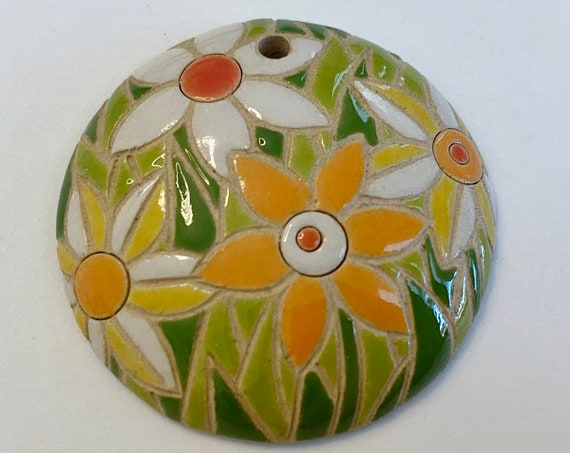 Bright Flowers In White, Orange And Yellow Pendant, Round Domed Ceramic Pendant Bead, Golem Design Studio Beads, 1.5 Inches Round