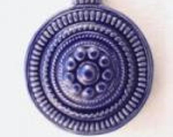 Indigo Stoneware Pendant, Round Domed Stoneware Pendant Bead, Golem Design Studio Beads