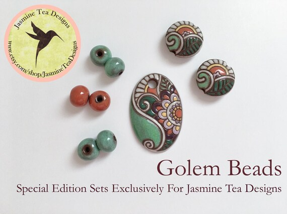 Paisley Flower And Leaf Pendant With Coordinating Accent Rounds In Green, Orange, Yellow and More, And Two Lentils, Large Hole Beads