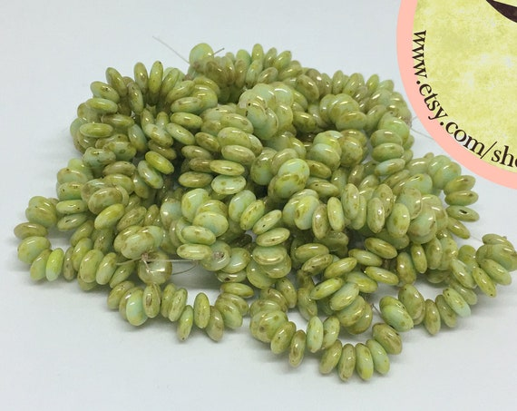 Mint Luster Picasso, 6mm Lentil Beads, 50 Beads per Strand,  Czech Glass Lentil Beads, Single Hole, Top Drilled Lentil Beads