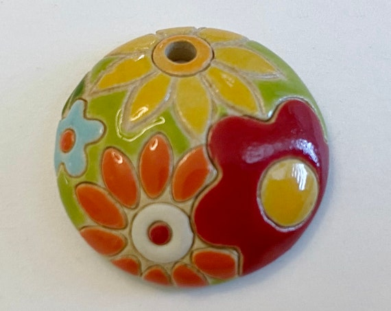 Multi Colored Flower Burst Pendant,  Domed Small Pendant,  Golem Design Studio