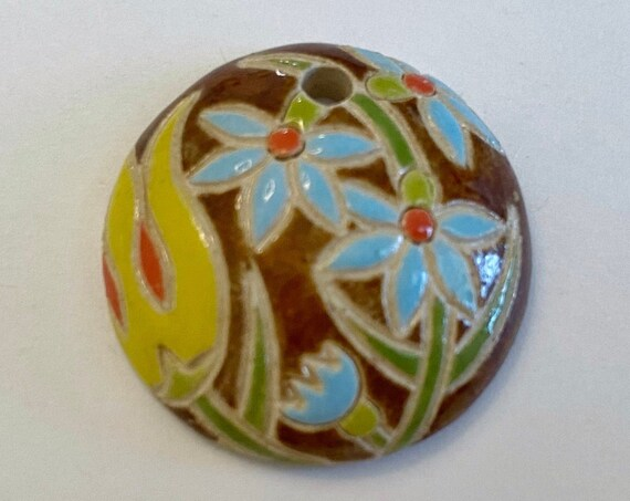 Yellow Tulips with Blue Flowers,  Domed Small Pendant,  Golem Design Studio