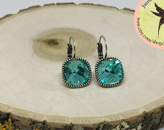 Swarovski Indicolite Crystal Earrings Set In Antique Silver Plated Lever Back Setting, 12mm Cushion Cut Crystals