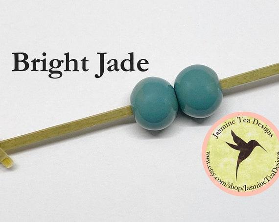 Bright Jade Glazed Round Beads, Large Hole Beads For Kumihimo, Spacer Beads, Golem Beads, Set Of Two Beads