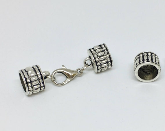 8mm Antique Silver Plated Etched End Caps with Lobster Claw Clasp, 8mm Silver Clasp Set, Kumihimo Closures