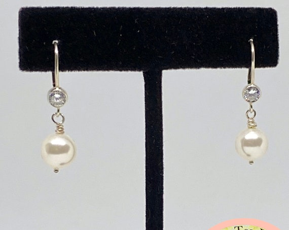 Swarovski White Pearl Drop Earring with Cubic Zirconia Accented Lever Back, Sterling Silver