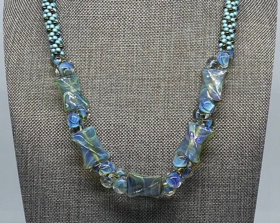 Blue Twists And Turns Beaded Kumihimo Necklace, 18 Inch Beaded Kumihimo Necklace With Magnetic Clasp