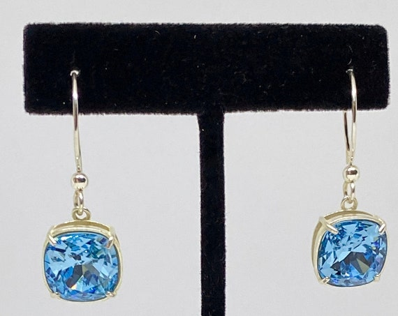 Aquamarine Earrings, 12mm Cushion Cut Swarovski Aquamarine Crystals, Set in a Vintage Patina Antique Silver Setting with French Ear Wires