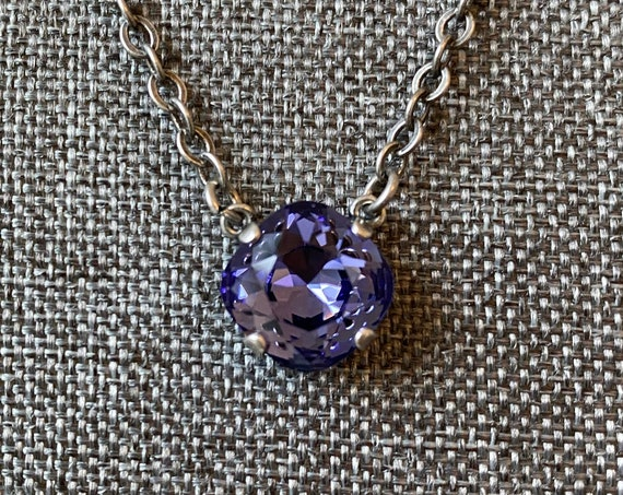 Tanzanite Crystal, 12mm Square Solitaire Necklace, 16 Inch Antique Silver Necklace With 2 Inch Extender
