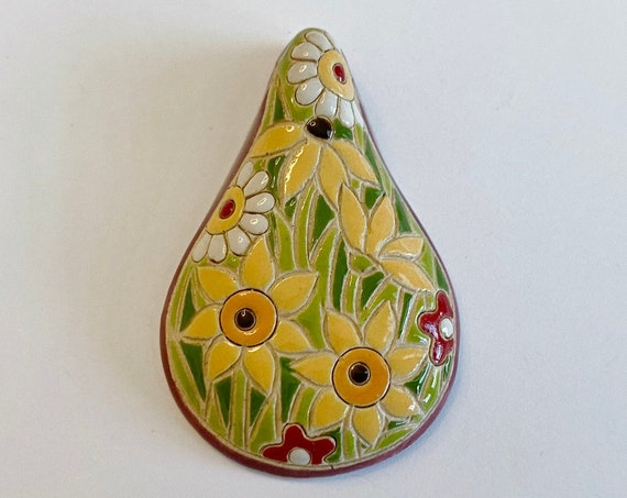 Blossoms Blooming, A Drop Shaped Stoneware Pendant, Hand carved And Hand Painted, Glazed On Both Sides, Drill Hole Is Approximately 2.6mm