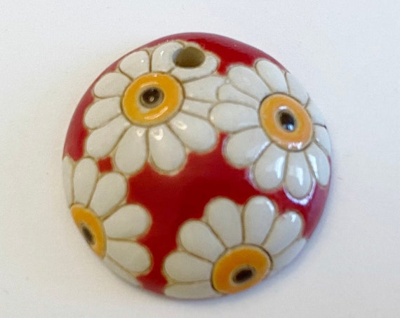 White Daisies on Red,  Domed Small Pendant,  Golem Design Studio