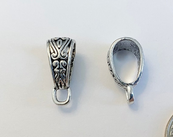 Etched Bail, Antique Silver Plated Bail, Two Sided Design, Bail With Loop