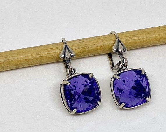 Tanzanite Swarovski Earrings, 12mm Cushion Cut Crystals, Vintage Patina Silver Bezel Setting, Fleur de Lis Lever Back Ear Wires