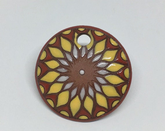 Sun Design In Yellow And Orange On Terracotta, Large Round Terracotta Pendant, Large Drill Hole For Tex 400 Beading Cord