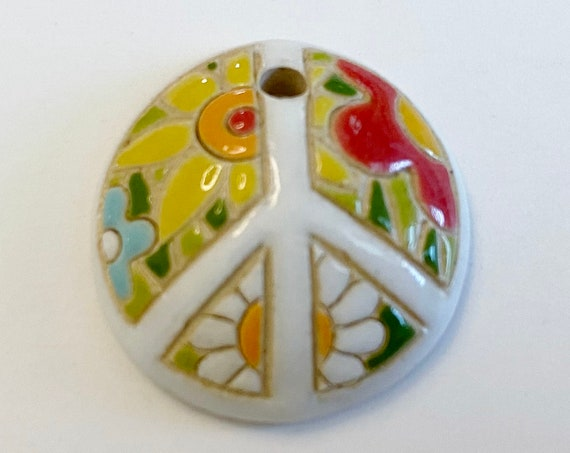 Flower Power Peace Sign Domed Small Pendant,  Golem Design Studio