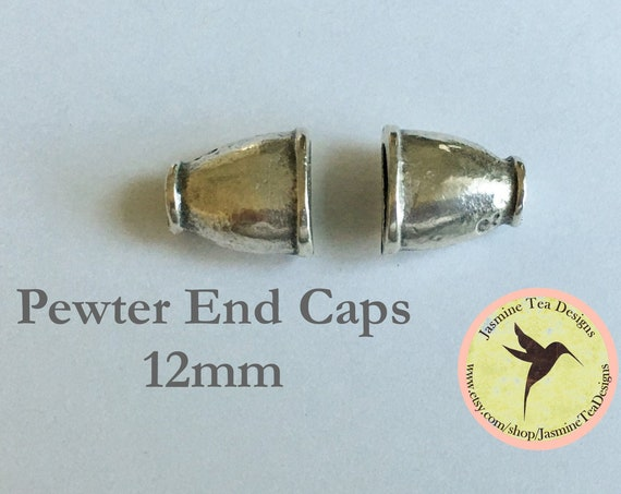 Pewter Mykonos Plani End Caps, 12mm, Set of 2 End Caps, Pewter Casting, Greece, Oval Kumihimo End Caps