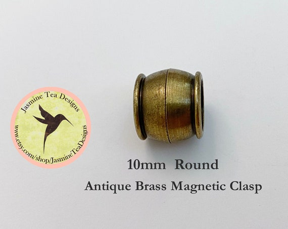 Antique Brass Magnetic Clasp, Extremely Strong Magnet, 10mm Round