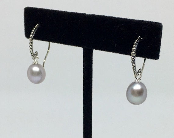 Fresh Water Light Gray Pearl Drop Earrings In Sterling Silver, Pearls Measure 15x9mm, Sterling Silver French Wires With SS Cup And Peg