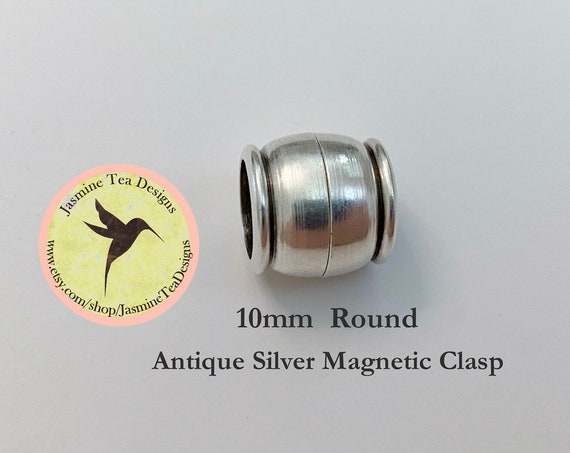 Antique Silver Magnetic Clasp, Extremely Strong Magnet, 10mm Round