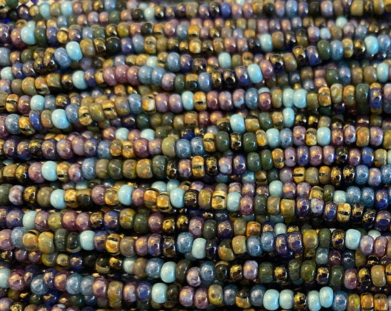 8/o Aged Killer Frost Picasso Mix, Size 8 Round, Czech Glass Seed Beads, 20 Inch Strand, Approximately 7 Grams Each