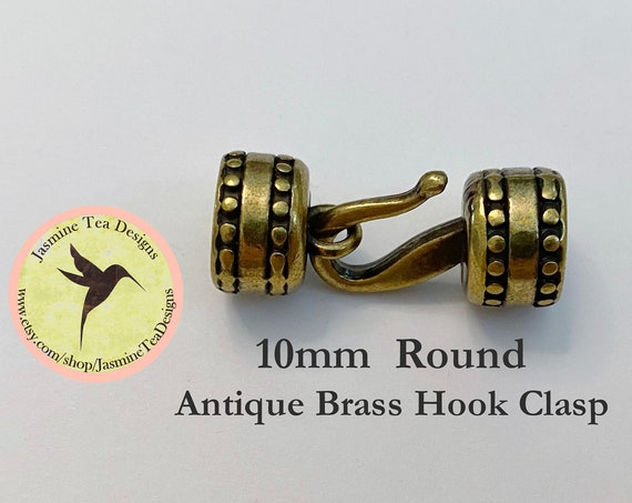 10mm Antique Brass Round Hook Clasp Set, Over All Measurement 33x13x13mm, Perfect For Size 6 Seed Beads, Kumihimo Beaded Braids