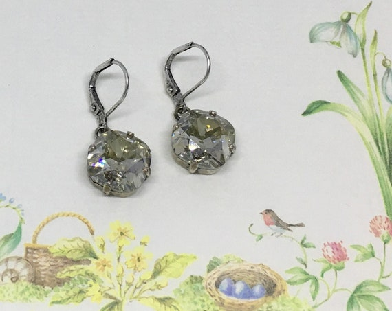 Silver Shade Swarovski Crystal Earrings, Set In A Vintage Antique Silver Patina Setting , Swarovski 12mm Cushion Cut, Lever Back Ear Wires