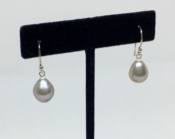Fresh Water Gray Pearl Drop Earrings In Sterling Silver, Pearls Measure 16x9mm, Sterling Silver French Wires With SS Cup And Peg