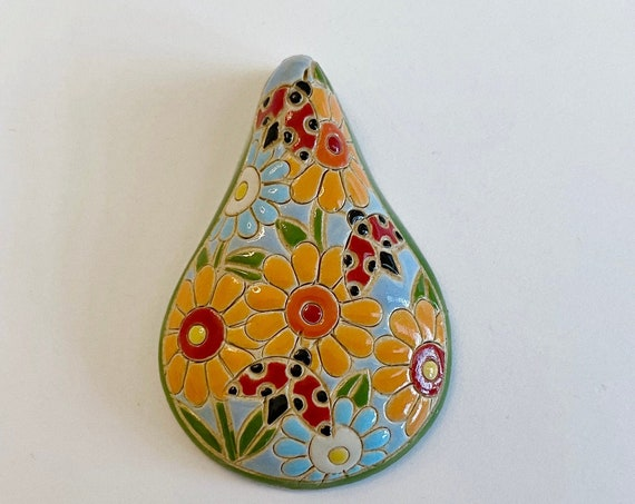 Ladybug Garden, A Drop Shaped Stoneware Pendant, Hand carved And Hand Painted, Glazed On Both Sides, Drill Hole Is Approximately 2.6mm