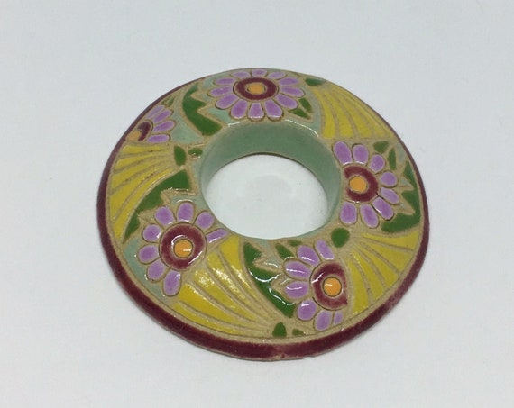 Yellow Dandelions With Purple Daisies Donut Porcelain Pendant Bead, Golem Design Studio Beads, 39mm Round