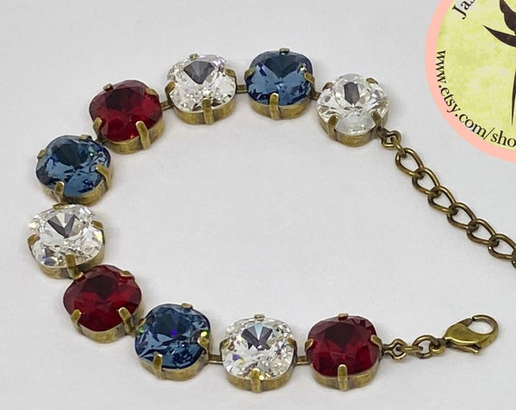 Red Siam, White Clear and Blue Denim Swarovski Crystal Bracelet, 12mm Cushion Cut Crystals, Adjustable Length