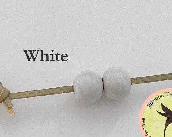 White Glazed Round Beads, Large Hole Beads For Kumihimo, Spacer Beads, Golem Beads, Set Of Two Beads