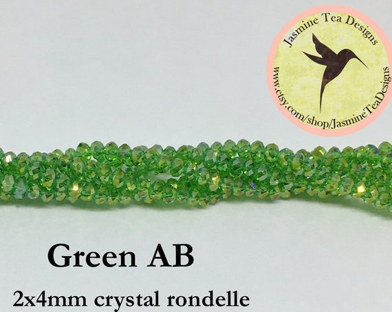 Green AB 2x4mm Crystal Rondelles, 60 Chinese Crystals Per Strand