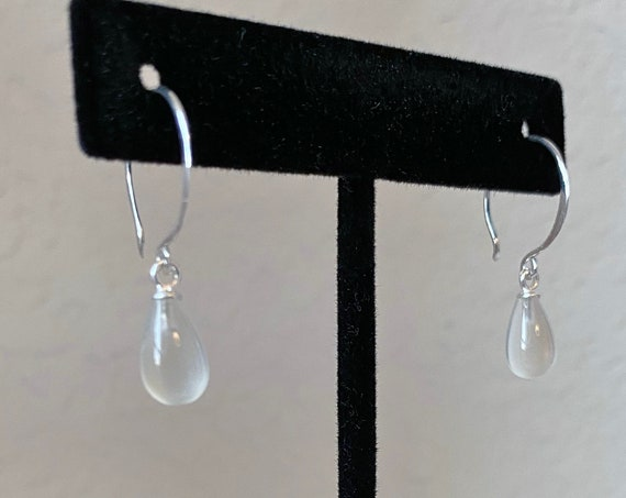 Luminous White Moonstone Teardrop Earrings In Sterling Silver, Moonstones Measure 6x10mm, 925 Sterling Silver Hammered French Wires