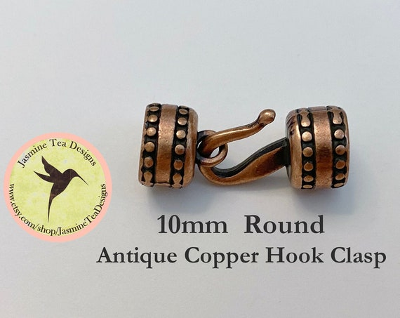 10mm Antique Copper Round Hook Clasp Set, Over All Measurement 33x13x13mm, Perfect For Size 6 Seed Beads, Kumihimo Beaded Braids